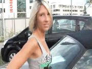 Oral sex outdoor with hot German blonde