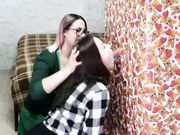 Two young bisexual girls blowing cock and sharing the sperm after he cums